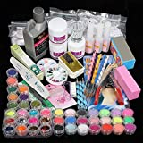 TEEROVA Nail Art Kit, 42 Acrylic Powder Liquid Brush Glitter Clipper Primer File Nail Art Tips Set Kit