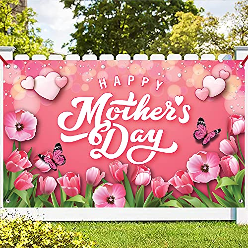 XtraLarge Pink Happy Mothers Day Banner  72x44 Inch | Mothers Day Banner for Mothers Day Decorations | Mothers Day Decorations for Party | Baby Shower Mothers Day Brunch Decorations Mother#039s Day