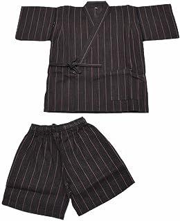 [ 京都きもの町 ] 男児 甚平 焦げ茶縞 90cm 100cm 110cm 120cm