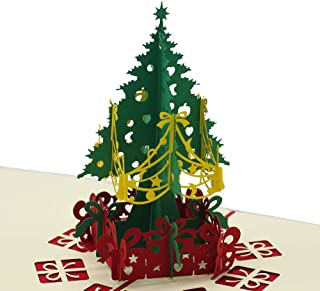 Christmas Tree 3D Pop Up Greeting Cards, Handmade Merry Christmas Tree Village Laser Cut Card With Envelope for Xmas and Happy New Year, Holiday Card (1)
