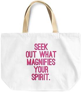 Loud Universe Seek Out What Magnifies Your Spirit Motivational Quote Reusable Tote Bag, 30 x 30 x 10 cm, Multicolor