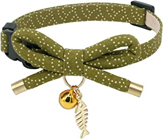 PetSoKoo Bowtie Cat Collar with Bell. Stylish Bowknot with Fish Bone Charm. Safety Breakaway, Light Weight, Soft, Durable.