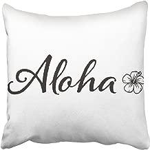 Emvency Decorative Throw Pillow Cover Square Size 16x16 Inches Aloha Hibiscus Flower Hawaiian Theme Simple Design Cotton Decor Pillowcase with Hidden Zipper Decor Cushion Covers