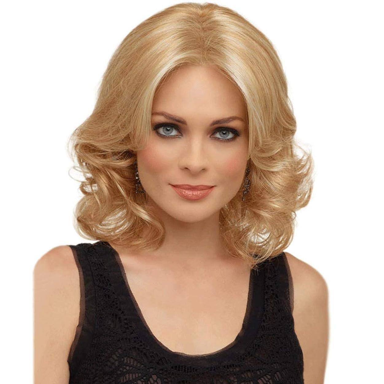 染色泥だらけピンク女性の女性のための肩の長さの波状オンブルブロンドのかつら、100%合成耐熱150%密度 (色 : Blond)