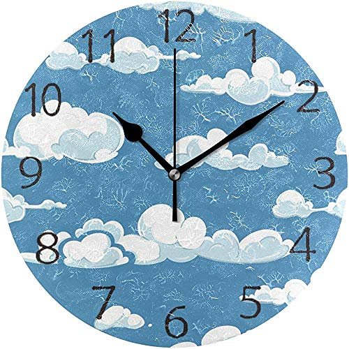 TABUE Wandklok, stil, 9,5-inch batterijen, tikt niet, wolken, weer, rond, acryl, rustige horloges