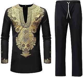 Men Tracksuit Autumn Spring Luxury African Print Long Sleeve Dashiki Shirt Suit