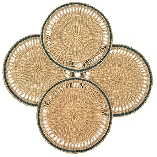 Seagrass Placemats for Dining Table 11.8 inches Table Mats Set of 4 Round Placemat Wicker Decor Woven Chargers for Dinner Plate Heat Resistant Circle Placemats for Patio Table Outdoor (Natural)