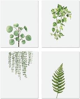 KAIRNE Lot de 4 Affiche Vertes Plante – Aquarelle Feuilles Murale Impressions D'art–Style Nordique Art Posters–Mur Toile P...