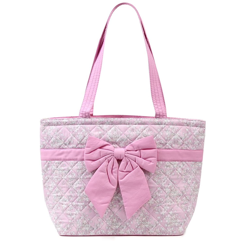 NaRaYa ナラヤ リボンバッグ ショルダートートバッグ A4サイズ ピンク×小花柄 CP78