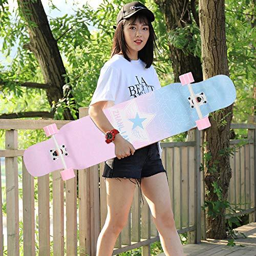 VByge Skateboard Cuatro Ruedas Doble Inclinación Autopista Monopatines Adulto Profesional 4 Ruedas Longboard 110x23cm Estrella Rosa