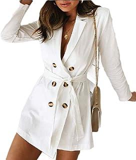 Women Lapel Blazer Windcoat Belt Double-Breasted V Neck Trench Windbreaker