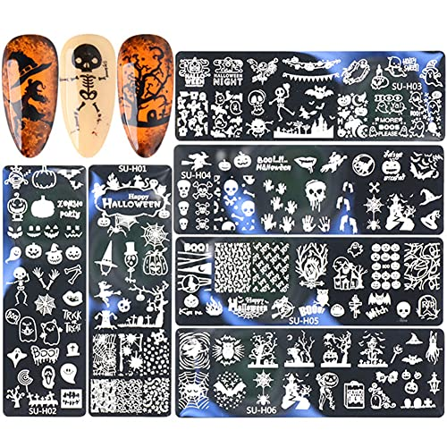 6PCS Nail Stamping Plate, Nail Art Stamping Plate, Tampons pour Dessin à Ongles, Pochoir à ongles, Halloween