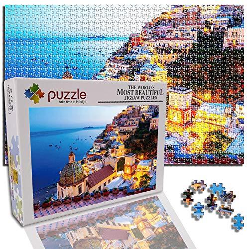 GFSJJ Rompecabezas Adultos Puzzle 1000 Piezas Jigsaw Puzzle para Adultos Kids Infantiles Adolescentes Sensorial Juegos Educativos (29.5 X 19.7 Pulgada) Edificio De Paisaje De Ciudad Costera
