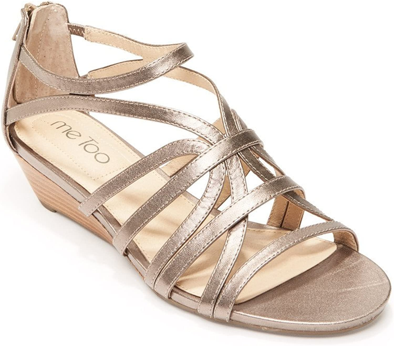 Me Too Womens Sofie5 Shimmer Open Toe Wedge Sandals