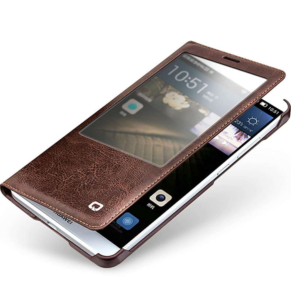 Qialino Leather Case for Huawei Mate 7, Slim Flip Cover Mate 7 Case with Smart View Winodw and Sleep Wake-up Function (Brown)