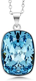 Gem Stone King Rhodium Plated 18X13MM Octagon Cut Pendant Made with Swarovski Crystals