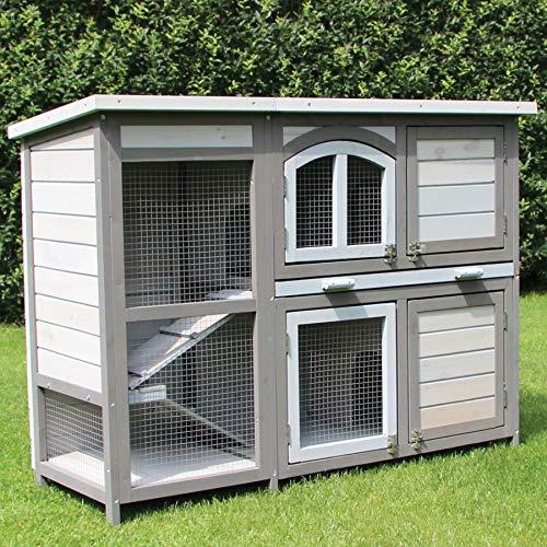 zoo-xxl Kaninchenstall Hasenstall Kleintierstall Kuschel ca.122.00 x 47.50 x 92.00 cm groß mit 2 Ruhebereichen mit hochwertiger Schublade mit dichtem Kunststoffboden