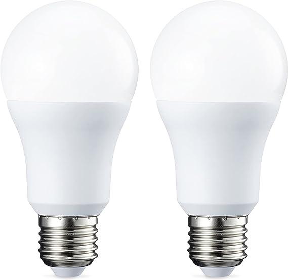 TALLA Paquete de 2. Amazon Basics Bombilla LED Esférica E27, 10.5W (equivalente a 75W), Blanco Cálido, Regulable - 2 unidades