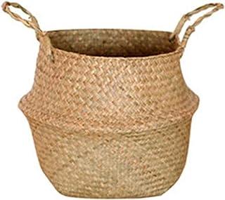 FHISD Foldable Handmade Bamboo Storage Baskets Laundry Straw Patchwork Wicker Rattan Seagrass Belly Garden Flower Pot Plan...