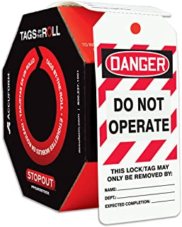 Accuform TAR404 Tags by-The-Roll Lockout Tags,