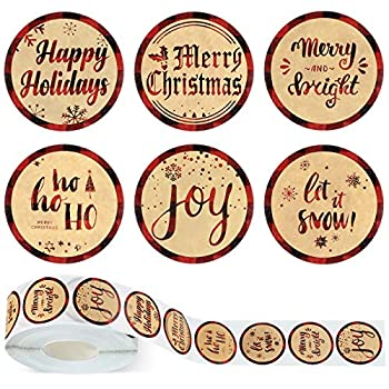 1000 Pieces Buffalo Plaid Christmas Stickers Merry Christmas Happy Holidays Label Stickers Round Christmas Roll Sticker for Seals Cards Presents Envelopes 1.5 Inch 6 Designs