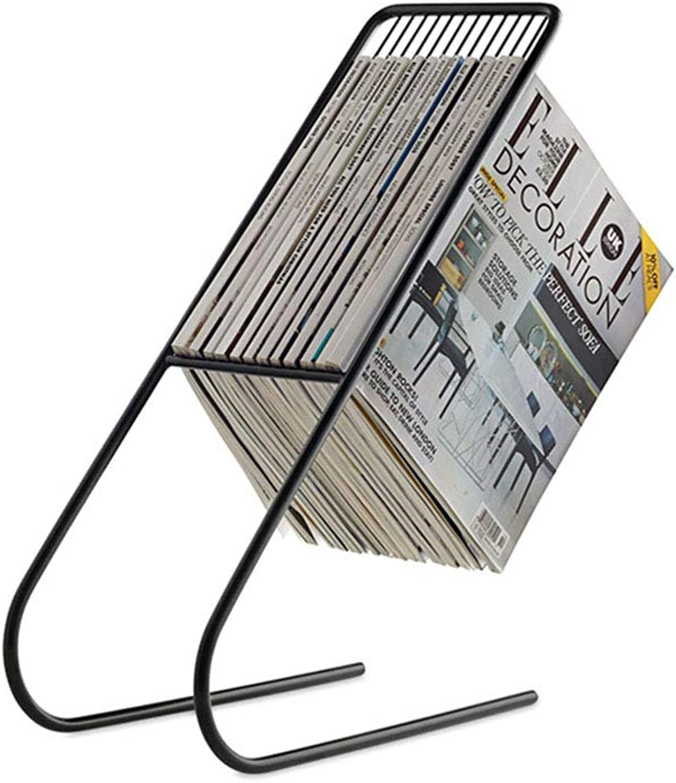 GWM Shelf Free Standing Magazine Rack Bookshelf Magazine Storage Rack Newspaper Rack Magazine Shelf Decorative Wire Floating Shelves, Black (color   Black)