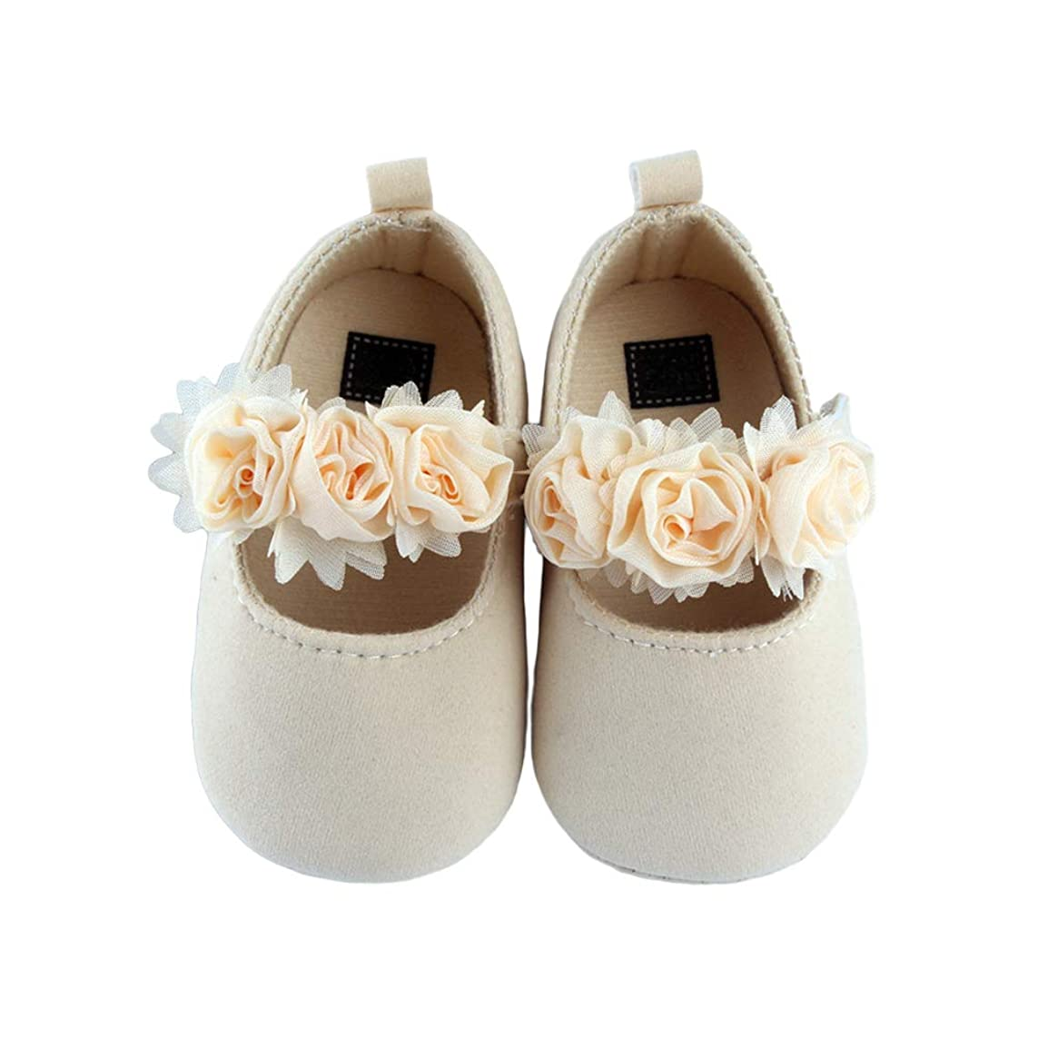 宝石外観フィットFENICAL ベビー幼児靴ベビーフラワーノンスリップソフトソールシューズベビーガールズ(ライトアプリコット)