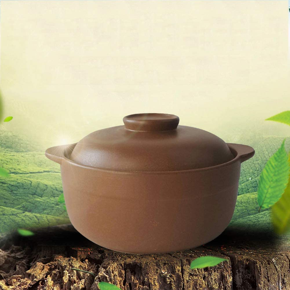 WZF Casserole Chinoise Pot d'argile Pourpre Casserole Non émaillée Saine Pot d'argile en céramique à Haute température pour Le Restaurant de Repas de Nutrition de feu de gaz-a 4l A