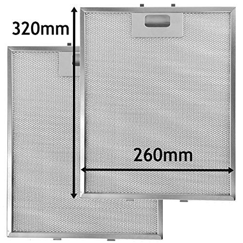 SPARES2GO Metalen Mesh Filter voor Proline Cooker Hood/Extractor Ventilator Ventilator (Pak van 2 Filters, Zilver, 320 x 260 mm)