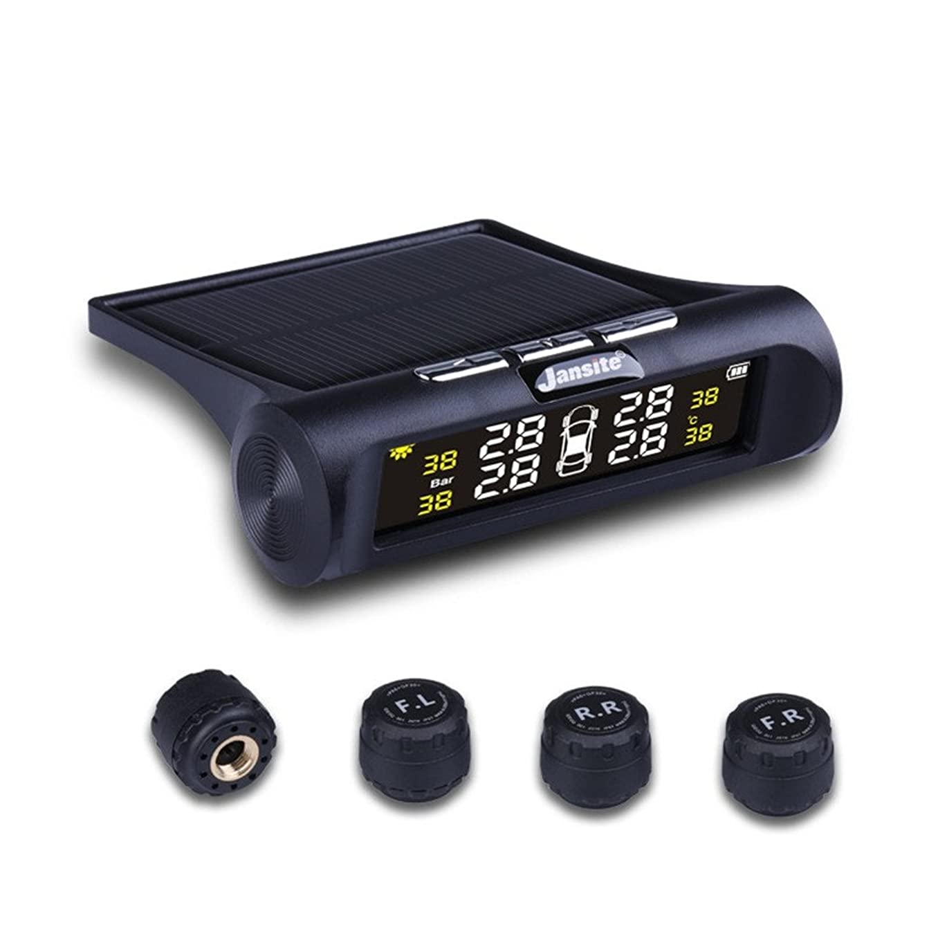 プレゼンターサービス膿瘍タイヤ空気圧モニタリングシステム 気圧温度即時監視 太陽能/USB二重充電 ソーラーワイヤレスTPMS モニタリングシステム+4外部センサー