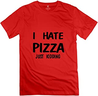 Fire-Dog Men's I Hate Pizza 100% Cotton T-shirt Size S Red