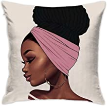 SARA NELL Velvet Throw African Woman Pillow Cases,Black Art African American Traditional Women,Pillow Covers Decorative 18x18 in Pillowcase Cushion Covers with Zipper