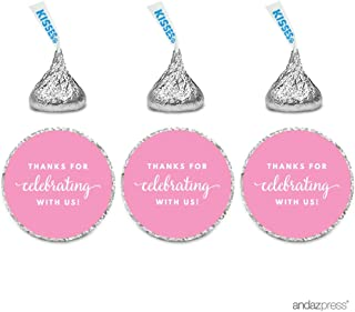 Andaz Press Chocolate Drop Labels Trio, Fits Hershey's Kisses Party Favors, Thanks for Celebrating with Us, Pink, 216-Pack