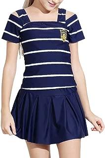キッズスクール水着 子供 女の子 セパレート ストライプ 3点 上下 セット 帽子 半袖 7-14歳 140 150 160cm