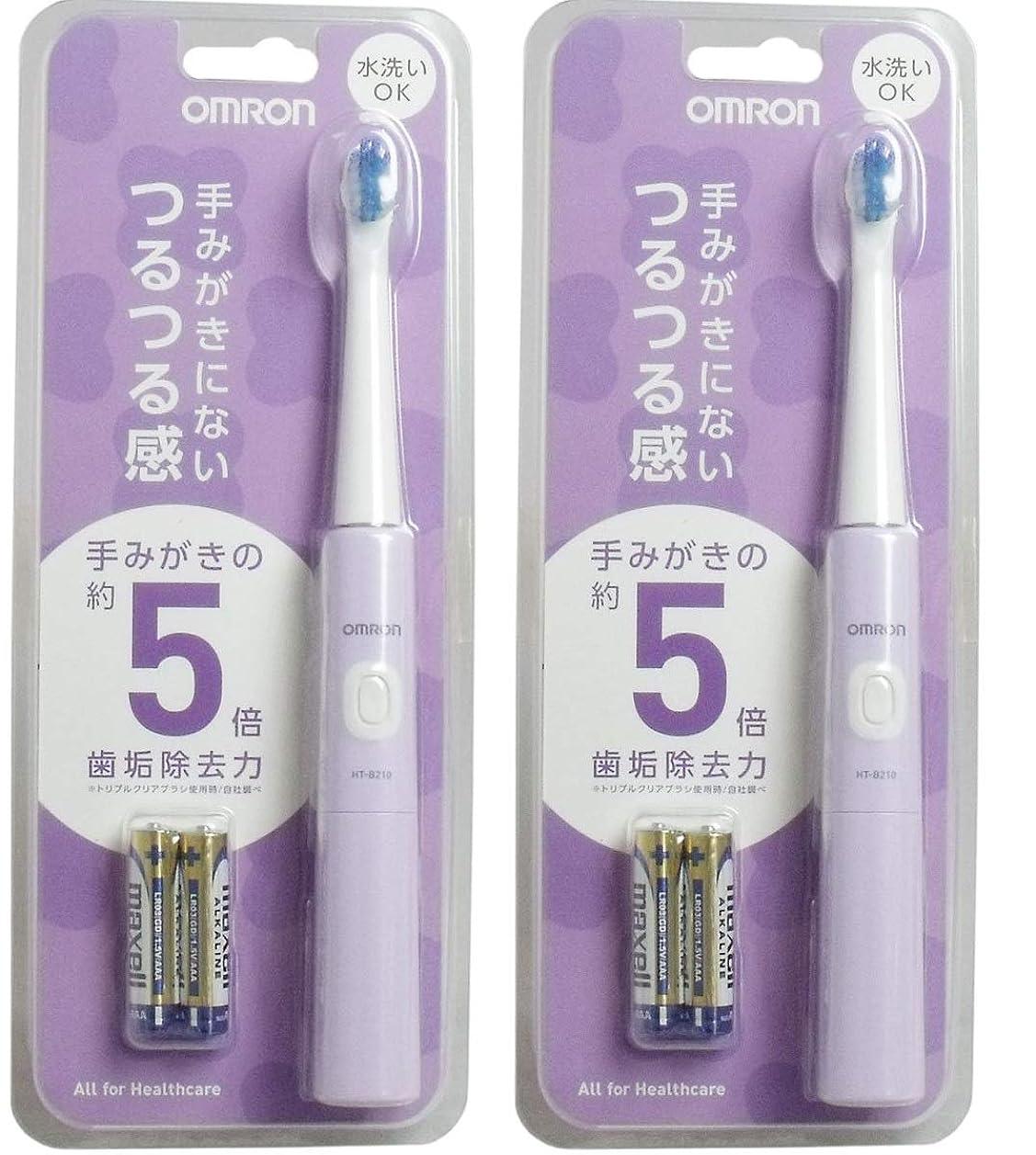 失望させるプーノ好む【2個セット】オムロンヘルスケア 音波式電動歯ブラシ パープル HT-B210-V