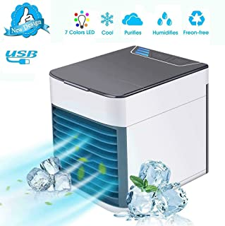 Personal Air Cooler Fan, Portable Air Conditioner, Humidifier, Purifier 3 in 1 Evaporative Cooler with 3 Speed, Mini AC US...