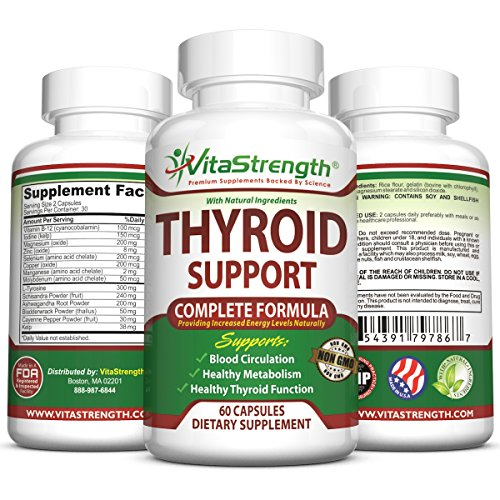 Thyroid Support - Complete Formula to Help Weight Loss & Improve Energy with Bladderwrack  Kelp  B12 & More- Thyroid Energy: Boost T4 to T3 Supplement