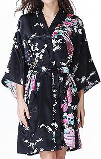 浴衣 和服 レディース バスローブ 浴衣式 孔雀柄 軽量 膝上 ショートローブ 女性用 サテン着物ドレスガウンラウンジウェア
