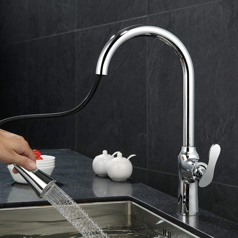 Wasserhahn FJH Modernen Minimalistischen Kupfer Küche Heien Und Kalten Pumpen Ausziehbare 360 ° Gemüse Pool Waschbecken Dusche + wassersule (Farbe   Chrom)