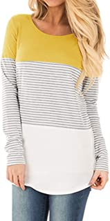 Ajj Women's Long Sleeve Round Neck T Shirt Triple Color Block Stripe Causal Blouses Tops