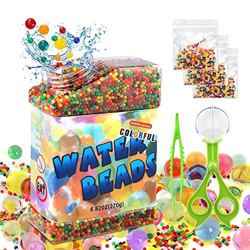 CRRMW Set di 50.000 perline in gel d'acqua, non tossiche, biodegradabili, contiene 3 x 5 g di acqua, 1 morsetto a sfera, 1 pinzetta per vaso, riempitivo, fiori, decorazione principale