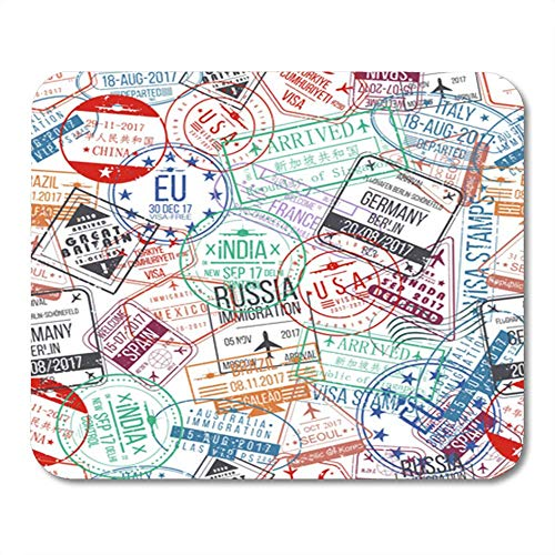 Rechteck Mauspad Gummi Mini Reisepass Stempel Internationale Ankünfte Zeichen Gummi Visa Muster Mousepad Smooth Gaming Notebook Computer Zubehör Backing