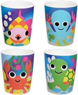 French Bull - BPA Free Kid's Dinner Set - 8-Inch Melamine Kids Plate Set - Jungle, Set of 4 Set of 4 Ocean WBQ-095
