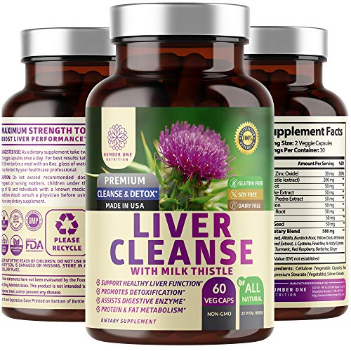 N1N Premium Liver Cleanse, Detox & Repair Supplement [22 Natural Herbs] All Natural Supplement with Milk Thistle, Beet Root, Artichoke. Max Strength to Promotes Overall Liver Health, 60 Veg Caps