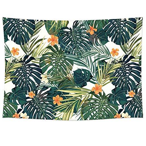 Pareo estampado con hojas tropicales en tejido ligero de poliéster útil como tapiz decorativo, colcha, mantel o para ir a la playa (198 x 147 cm) (GT06), Orange Flower, 78