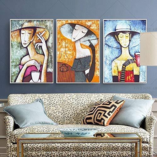 Clásico Abstracto Mujer Instrumento Musical Pintura Picasso Famoso Lienzo Arte Cuadro de Pared para decoración de Sala de Estar 40x60cmx3 sin Marco