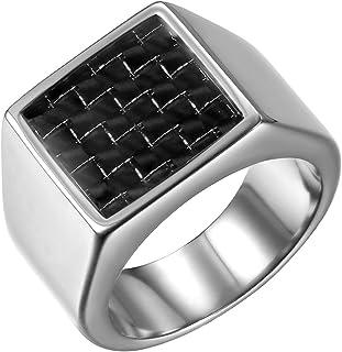 JewelryWe Anello da Uomo Grande in Acciaio Inossidabile e Fibra di carbonio Colore Argento e Oro, Incisione Personalizzato...