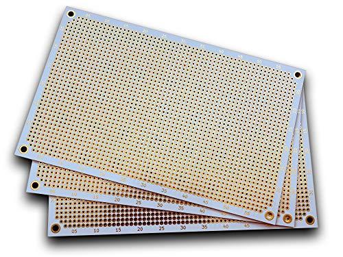 Premium Lochrasterplatine (3er Pack) | Doppelseitig mit runden Pads | 160 mm x 100 mm | Weiß | 2,54 mm Rastermaß