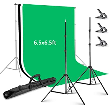 Neewer Photo Studio 8.5x10feet//2.6x3M Backdrop Stand Backdrop Support System with 6x9ft//1.8x2.8M Polyester Backdrop White, Black, Green Clamps and Carry Bag for Product Portrait Video Shooting