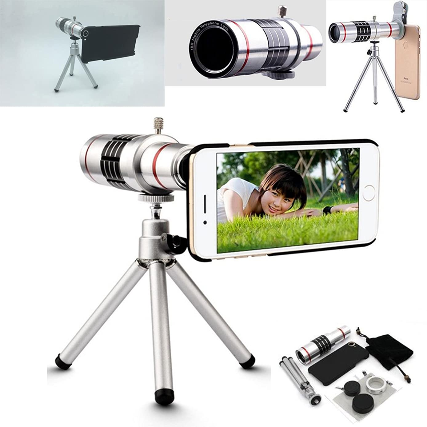 18X Profession iPhone Telephoto Lens, Aluminum Body Zoom Optical Telescope Camera Lens With Tripod Kit + Back Case + Universal Holder Clip For iPhone X 8 7 5 6s Plus (For iPhone 7/8 (4.7 inch))